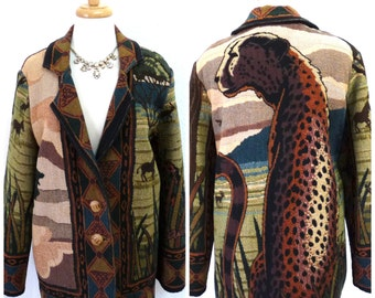 Vintage Cheetah print jacket, tapestry hippy boho Women L