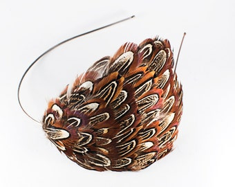 SALE! Natural Almond Ringneck Pheasant Feather Headband