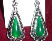 Vintage Silver MArcasite like  green dangle Earring Art Deco on Sale