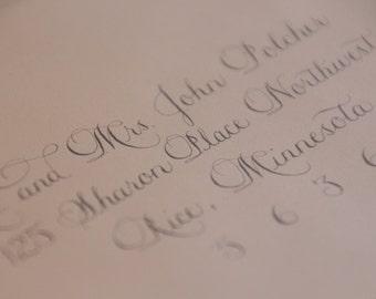 Wedding invitation envelope calligraphy