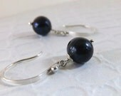 Pearl Earrings, Blue Pearl Earrings, Sterling Silver, Freshwater Navy Blue Pearl Earrings, June Birthstone - Blue Moon