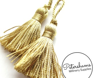 Mini Pair of 4cm (1.57 Inch) Tassels for Burlesque, Fez Hats - Gold