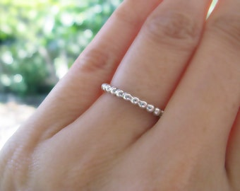 Beaded Eternity Sterling Silver Ring Stack Rings