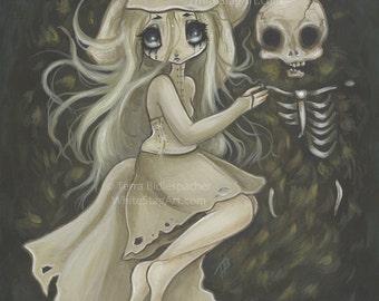 Edgar Allen POE Bridal Ballad art print wedding skeleton big eye lowbrow pop surreal- I'm happy now
