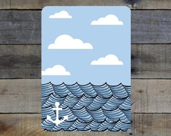 """Waves and Anchor - 5""""-7"""" Giclée Print"""