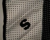Great Gift Idea! Vintage Scarf, Black and White Scarf, Polka Dot Scarf, 80s Scarf, Initial Scarf with Letter S