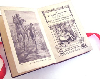 The Black Arrow , A Tale of the Two Roses by R. L. Stevenson, Leather Edition, RARE, Antique Book, Wedding Gift, Homeschooling, Book Decor