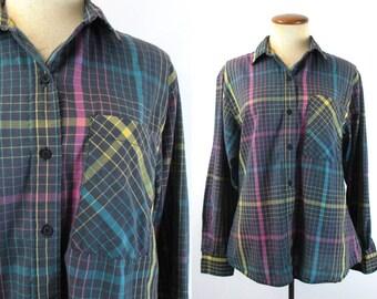 Diane Von Furstenburg Blouse Button Up Shirt 1980s Graphic Geometric Bright Washed Black Top Vintage 80s Long Sleeve Graph Plaid M Medium