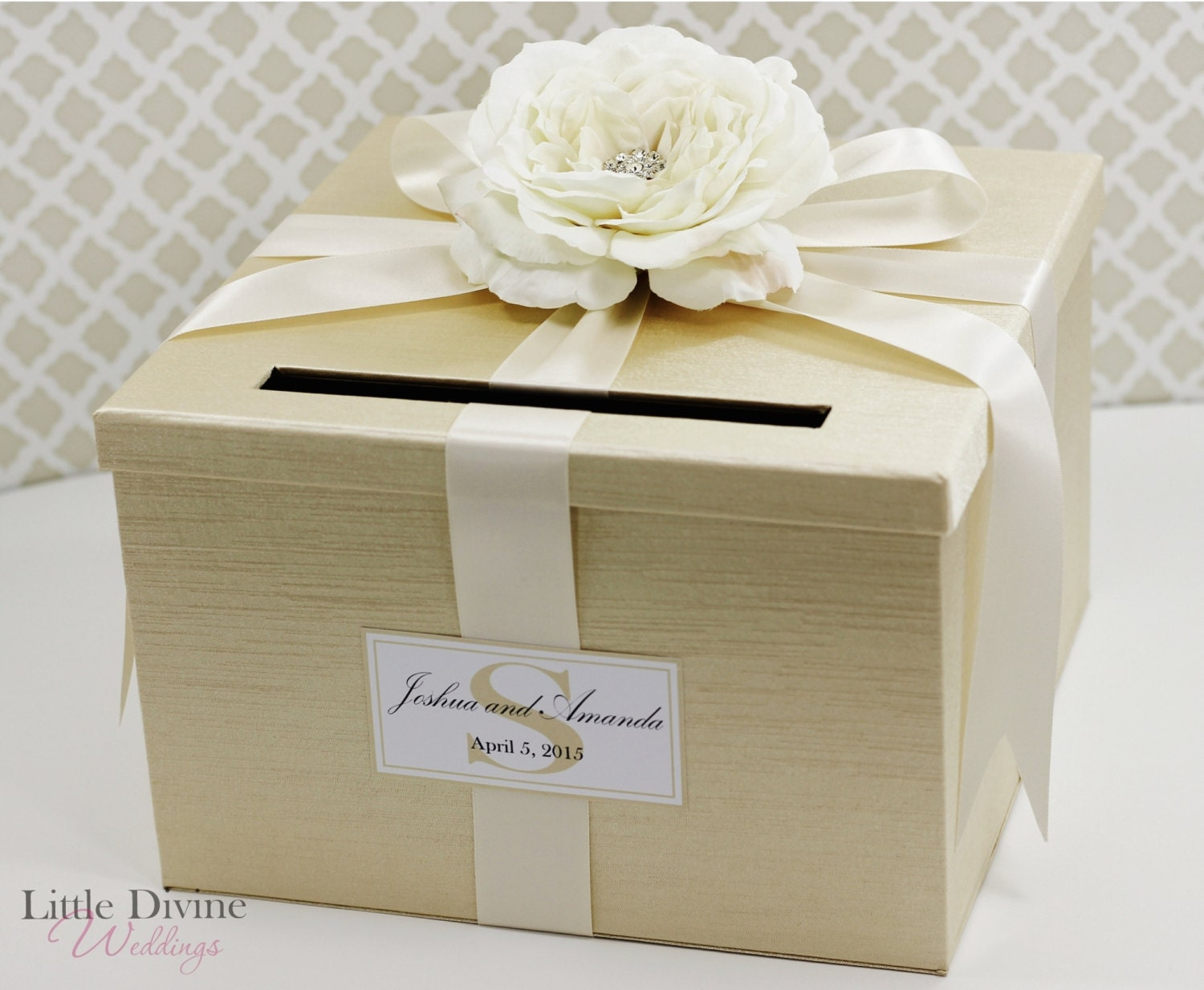 Wedding Gift Boxes: Wedding Card Box Champagne Gold Ivory Money Holder
