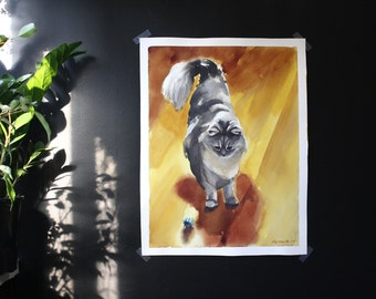 Nimbus with a Ball 2- Original Large Cat Watercolor Painting