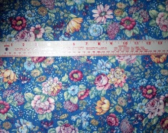 100 per cent  Cotton Fabric BTY 45 inch Country Blue and Mauve Shabby Chic Floral