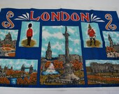 London Calling .Tapestry Souvenir .Lovely and Vibrant Linen or possibly just cotton wall hanging .Trafalgar Square Big Ben Buckingham Palace