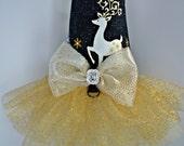 Dog Dress Tutu Harness, Christmas Gold Reindeer - LIMITED EDITION