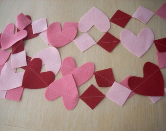 pink and red hearts and squares garland - FREE SHIPPING