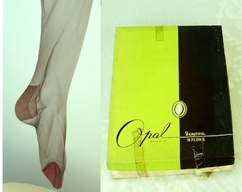1960s stockings garter stockings Nine Pair sheer nylon thigh high by Opal Size 9 Shadow color RTH