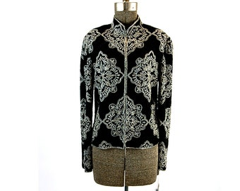 Black beaded jacket Papell Boutique silver black beaded silk Mandarin collar evening jacket, Size S