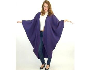 1980s cape, batwing coat, wrap coat, striped coat, knit sweater coat, Dattilo, One size