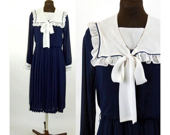 1980s dress sailor dress nautical dress navy blue and white ruffled collar Size M