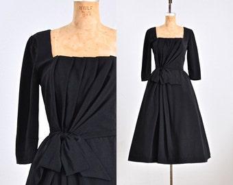 vintage 1950s dress • simply regal dress • vintage 50s classic dress • 1950s black dress • xs small