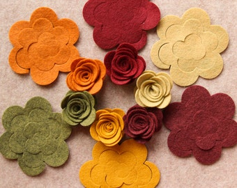 Autumn Harvest - 3D Rolled Roses Medium - 12 Die Cut Wool Blend Felt Flowers - Unassembled Rosettes