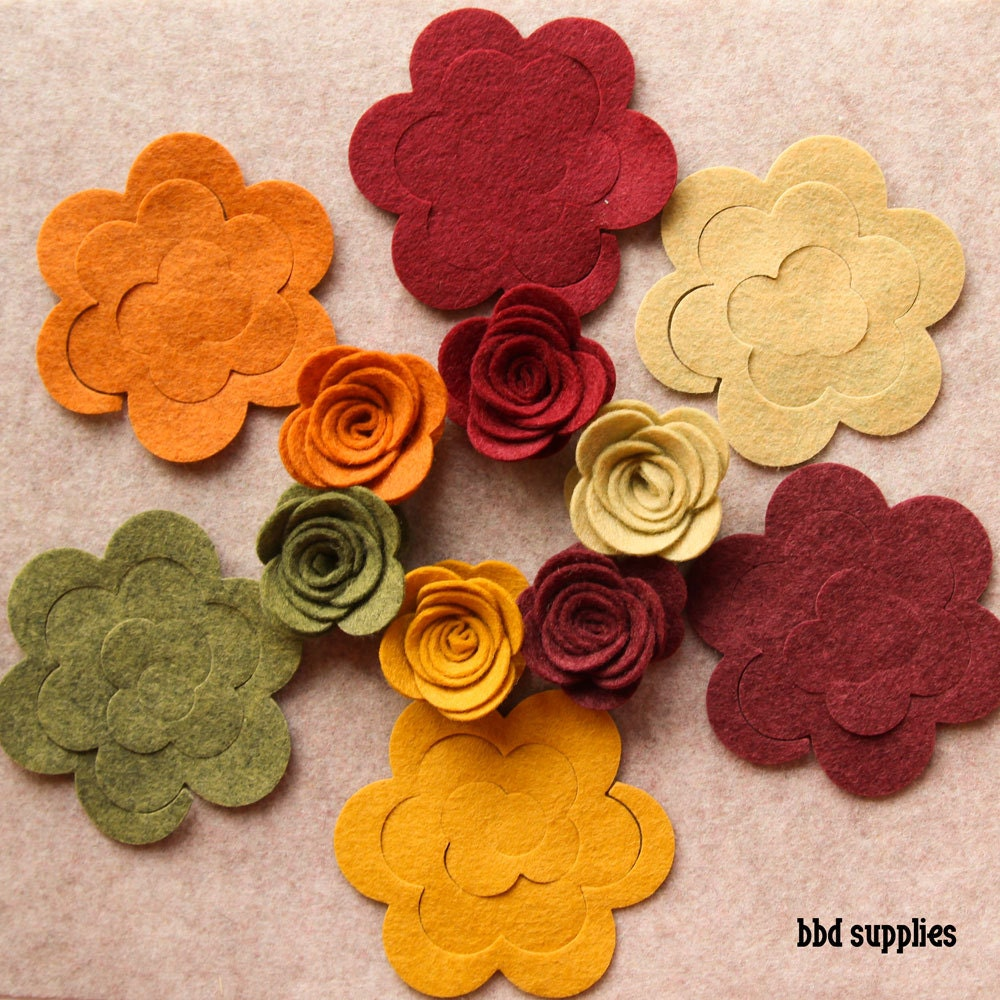 Autumn Harvest Medium 3d Rolled Roses 12 Die Cut Wool