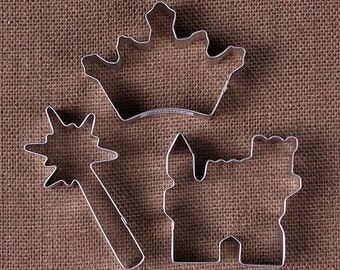 Princess Party Cookie Cutter Set with Crown Cookie Cutter, Castle Cookie Cutter and Wand Cookie Cutter, Princess Metal Cookie Cutter Set