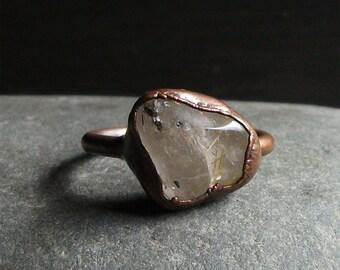 Quartz Ring Gemstone Ring Size 8.5 Cocktail Ring Rutile Gold Phantom Crystal Artisan Gemstone Jewelry Handmade For Her