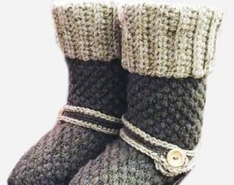 Crochet PATTERN Brighton Booty Slippers Crochet Slipper Pattern Includes Sizes Toddler Size 9 - Ladies 11