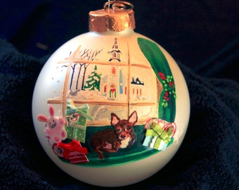 Hand Painted Ornament-Red Chihuahua W/3D Effect-Item 749
