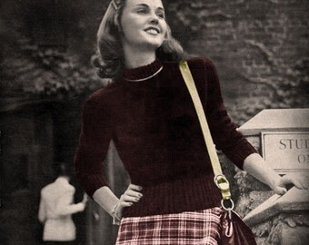 Bear Brand #335 c.1947 - Campus Knits, Vintage 1940's Knitting Patterns for the College Girl