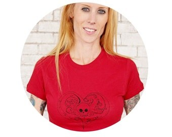 Heart With Skull and Crossbones T Shirt, Women, Ladies, Scarlet Red, Cranberry, Burgundy, Cotton Crewneck TShirt, Graphic Tee, Screenprint