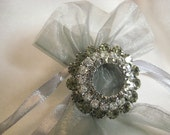 Vintage Tier Rhinestone Brooch 3 Layer Clear and Smokey Pin Jewelry ~ Absolutely Stunning