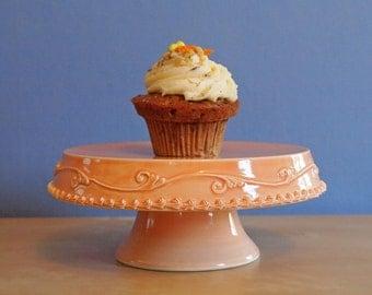 "8"" cake stand in sherbet with modern swirls"