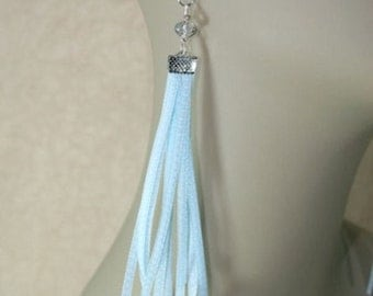 Blue Ribbon Long Fringe Dangle Earrings, Earwires or Clip On Earrings