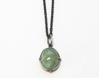 Green Beryl Cabochon Minimal Pendant Oxidized Sterling
