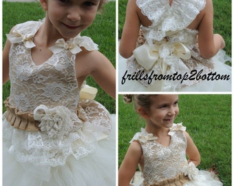 Rustic Flower Girl Dress . Shabby Chic Country Wedding . Lace Burlap Halter Top with Tulle Tutu Skirt . Ivory Flower Girl Dress