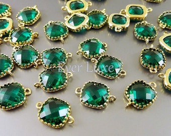 2 Emerald green faceted square glass connectors, glass beads stones, jewelry craft supplies 5055G-EM