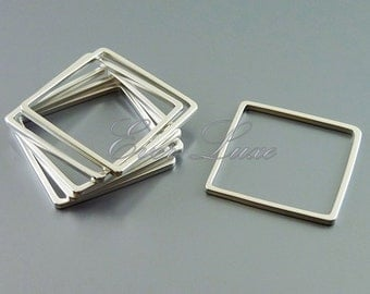 4 MATTE silver small 20mm brass abstract square pendants 1447-MR-20