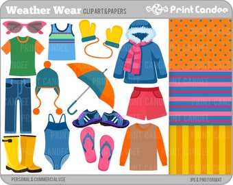 Weather Wear -  Digital Clip Art - Personal and Commercial Use - weather clothing forecast weatherman summer seasons seasonal teaching