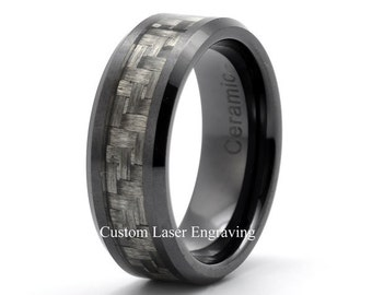black ceramic ring mens wedding band custom ceramic rings carbon fiber inlay mat brashed polished edge - Ceramic Wedding Rings