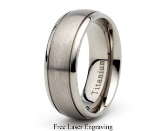 Mens Titanium Wedding Band,Brushed Domed Grooved Ring,His,Hers,Titanium Anniversary Rings,Bands,Custom Titanium Rings, Free Laser Engraving