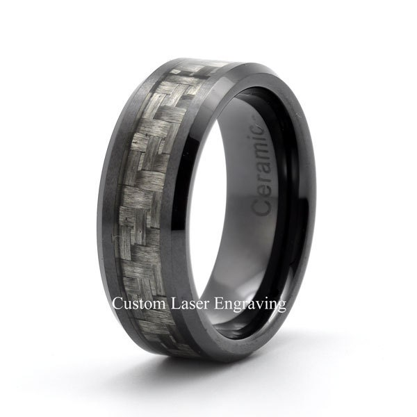 Black ceramic ring mens wedding band custom ceramic rings for Ceramic mens wedding rings
