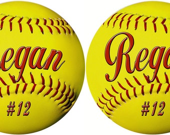 """2 Softball Decal Bumper Sticker 4"""" Personalize Gifts Girls Boys Sports Any Name Number Teams Any Colors"""