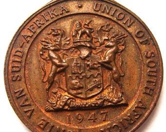 1947 KING GEORGE 6tn and  ELIZABETH  South Africa visit Medal