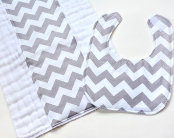 Baby Bib Burp Cloth Gift Set Baby Shower Gift Burpcloths Cloth Diaper Infant Boy Gender Neutral New Baby Gray Chevron