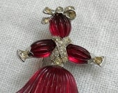 Trifari Rag Doll Brooch Pom Pom Red Glass 1949