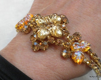 Edlee Bracelet Carnival Glass Molded Glass Rhinestones