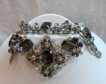 Juliana Bracelet Brooch Earrings Black Diamond Rhinestone Parure