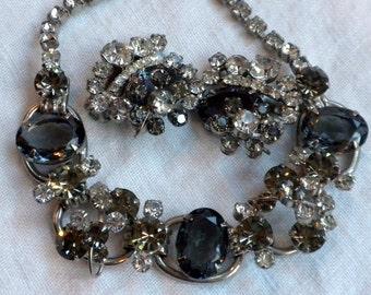 Juliana Necklace Earrings Oval Black Diamond Rhinestone Demi Parure