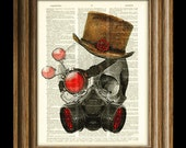 Steampunk Skull with Gas Mask and top hat over an upcycled dictionary page book art print